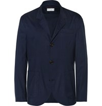 Brunello Cucinelli Virgin Wool And Silk Blend Blazer Navy