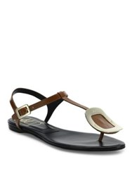 Roger Vivier Leather Chips Thong Sandals Brown