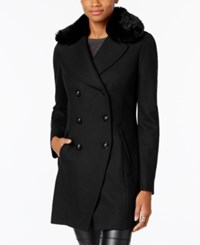 Inc International Concepts Faux Fur Trim Peacoat Created For Macy's Black