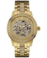 Guess Men's Crystal Accent Gold Tone Stainless Steel Bracelet Watch 44Mm U0686g2
