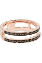 Monica Vinader Skinny Double Band Rose Gold Vermeil Diamond Ring