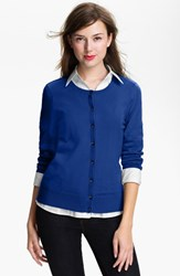 Women's Halogen Three Quarter Sleeve Cardigan Blue Mazarine