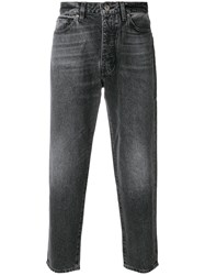 Levi's Cropped Faded Jeans Cotton Leather Black