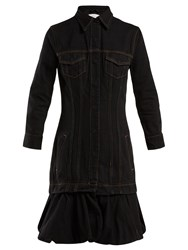 Marques Almeida Drop Waist Bubble Hem Denim Dress Black