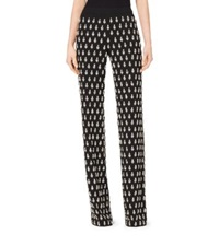 Michael Kors Gem Embroidered Paisley Georgette Pajama Trousers Black