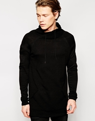 Asos Longline Jumper With Cowl Neck Black