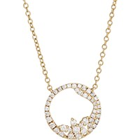 Zoe Women's White Diamond And Yellow Gold Open Circle Pendant Necklace No Color