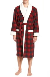 Nordstrom Shop Plaid Fleece Robe With Faux Shearling Lining Red Rio Black Buffalo