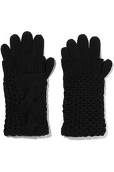 Duffy Cable Knit Merino Wool Gloves Black
