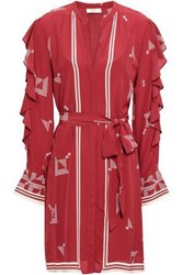 Joie Woman Belted Ruffled Printed Crepe De Chine Dress Brick