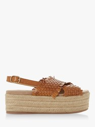 Bertie Kalette High Flatform Sandals Tan Leather