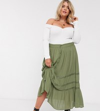 Asos Design Curve Tiered Crinkle Maxi Skirt With Lace Insert In Khaki Multi