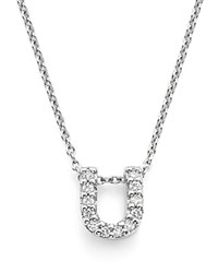 Roberto Coin 18K White Gold Initial Love Letter Pendant Necklace With Diamonds 16 U
