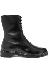 The Row Fara Leather Ankle Boots Black