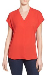 Pleione Women's High Low V Neck Mixed Media Top Red Fiery