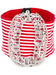 Alessandra Rich Maxi Buckle Belt Red