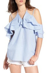 Love Fire Women's Cotton Ruffle Off The Shoulder Blouse Blue White Stripe