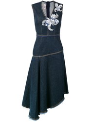 Antonio Marras Floral Patch Denim Dress Blue