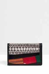 F.E.V. Mix Patchwork Zip Clutch Black