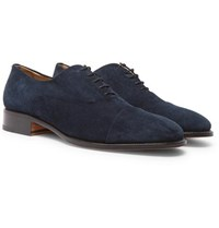 Brioni Suede Oxford Shoes Navy