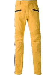 Balmain Straight Leg Biker Jeans Yellow And Orange