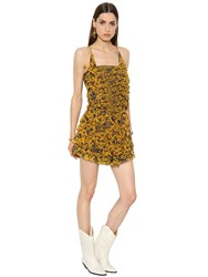 Etoile Isabel Marant Printed Ruffled Silk Crepon Dress