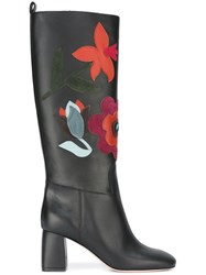 Red Valentino Flower Boots Black