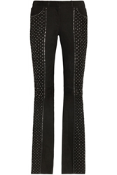 Roberto Cavalli Embellished Suede Flared Pants Black