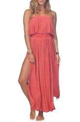 Rip Curl Beach Babe Popover Strapless Maxi Dress Red