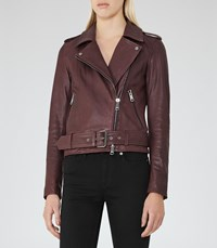 Reiss Dries Womens Leather Biker Jacket In Red
