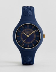 Versus By Versace Soq09 Fire Island Silicone Watch In Navy Navy