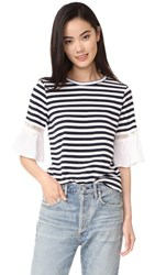 Clu Striped Top With Contrast Ruffles Navy