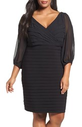 Adrianna Papell Plus Size Women's Ruffle And Shutter Pleat Sheath Dress