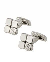 Hickey Freeman Geometric Stainless Steel Logo Cuff Links Silver