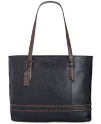 Tignanello Classic Boho Vintage Leather Tote Black Dark Brown
