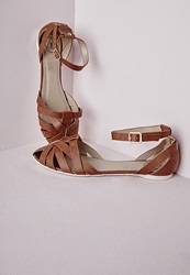 Missguided Woven Ankle Strap Flat Shoes Tan Brown