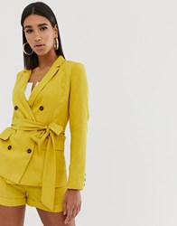 Fashion Union Double Breasted Blazer With Tie Waist Co Yellow