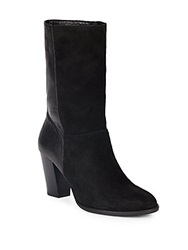 Saks Fifth Avenue Black Selina Suede And Leather Boots Oxford