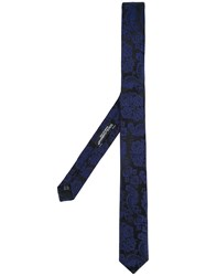 Dolce And Gabbana Floral Tie Men Silk One Size Blue