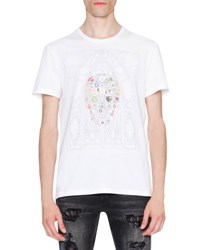 Alexander Mcqueen Stained Glass Skull Graphic T Shirt White