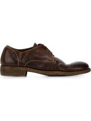 Guidi Stitch Detail Derby Shoes Brown