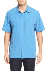 Quiksilver Men's Waterman Collection 'Centinela 4' Short Sleeve Sport Shirt Strong Blue