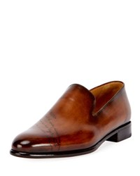 Berluti Scritto Leather Slip On Dress Shoe Brown