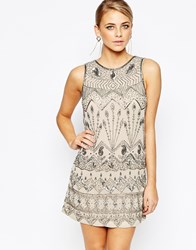 Oasis Deco Beaded Flapper Dress Palegrey