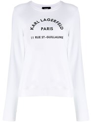 Karl Lagerfeld Address Logo Sweatshirt White