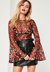Missguided Floral Mesh Embroidered Bell Sleeve Crop Top