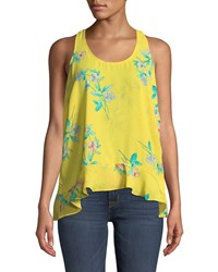 London Times Floral High Low Tank Yellow Pattern