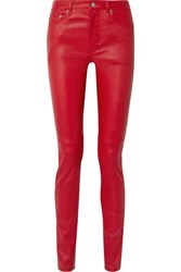 Saint Laurent Leather Skinny Pants Red