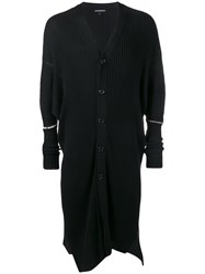 Ann Demeulemeester Long Ribbed Knit Cardigan Black