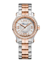 Chopard 30Mm Happy Sport Two Tone Watch With Diamonds